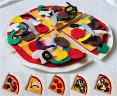 FREE no sew Printable pattern for felt food - pizza
