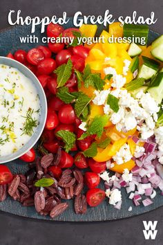 Have every colour of the rainbow on your plate with this easy chopped Greek salad! This easy healthy recipe is a great side dish or meal, just add a protein of your choice.