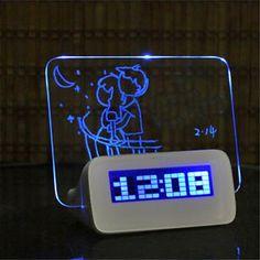 Digital Alarm Clock LED Despertador Fluorescent with Message Board USB 4 Port Hub Desk Table Clock With Calendar Blue Digital Table Clock, Digital Alarm Clock, Led Alarm Clock, Led Fluorescent, Unique Clocks, Blue Led Lights, Desk Clock, Usb Hub, Dry Erase Board