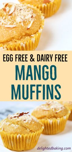 Easy to make, egg free and dairy free mango muffins. These muffins are prepared using fresh mango puree and these taste delicious. Mango Desserts, Eggless Desserts, Eggless Baking, Mango Recipes, Köstliche Desserts, Eggless Muffins, Delicious Desserts, Dessert Recipes, Baby Muffins