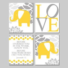 This is a collection of four 8x10 inch elephant love art prints that can be hung together in a quad format (shown) or hung separately. Floral Baby