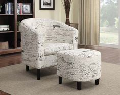 Coaster Furniture - French Script Pattern Accent Chair with Ottoman - 900210 #coasterfurniture