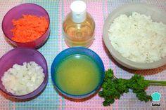 Arroz con zanahoria y cebolla - Fácil Pollo Guisado, Grains, Rice, Food, Fried Fish, White Rice, Onion, Tasty, Essen