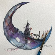Terri foss artist terri foss watercolor art, art и witch art Watercolor Art, Moon Art, Witch Art, Art Drawings, Drawings, Fantasy Art, Art Projects, Art, Halloween Art