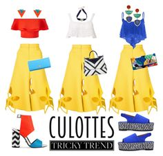 """""""Tricky Trend: Culottes"""" by katebush36 ❤ liked on Polyvore featuring Rosie Assoulin, Beauty & The Beach, Miss Selfridge, Vivienne Westwood, Kat Maconie, Carré Royal, MICHAEL Michael Kors, Dolce&Gabbana, Grayson and Lizzie Fortunato"""