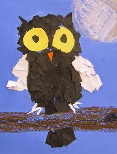 Torn paper owl art by daisy--Owl Moon craft? Kindergarten Art, Preschool Art, Owl Art, Bird Art, Paper Owls, Paper Art, 2nd Grade Art, Second Grade, Fall Art Projects