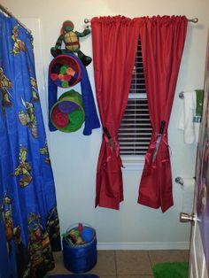 Tmnt bathroom decor. Look at the curtain tiebacks!