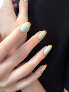 Creative manicures were spotted all over #NYFW. Modern twists on the French Manicure were a popular trend this season.