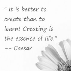 « It is better to create than to learn! Creating is the essence of life. » Caesar