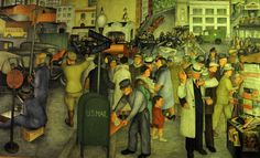 One of the murals which cover the walls inside Coit Tower. It was a WPA project. Coit Tower San Francisco, Mural Painting, Paintings, Office Mural, Visual Arts, Light Art, Public Art, Post Office, Northern California