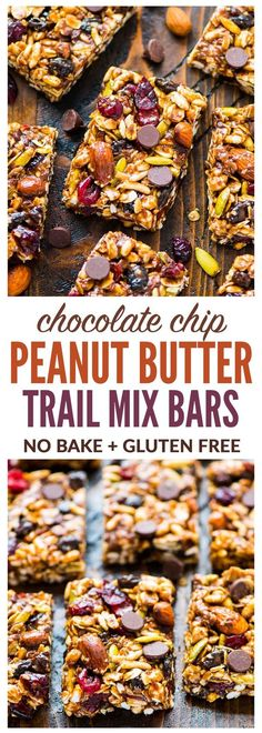 Chewy Trail Mix Peanut Butter Granola Bars with chocolate chips, oatmeal, and honey. Sweet, salty, and NO BAKE! Simple recipe that's perfect for healthy breakfasts and healthy snacks. {gluten free, dairy free, vegan, high protein} Recipe at wellplated.com | @wellplated