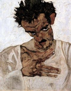 Egon Schiele - Self Portrait with lowered head, 1912. Oil on board, 42.2 x 33.7cm. Leopold Museum, Vienna, Austria