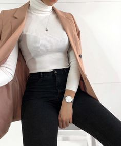 Roll Neck Ribbed Knit Jumper Top Cream - Classy outfit Best Picture For outfits For Your Taste You are looking for something, and it i - Winter Fashion Outfits, Look Fashion, Autumn Fashion, Fashion Clothes, Classy Fashion, Summer Outfits, Autumn Outfits, Feminine Fashion, Ootd Classy