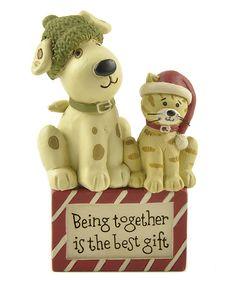 Look at this #zulilyfind! 'Being Together is the Best Gift' Cat & Dog Block by Blossom Bucket #zulilyfinds