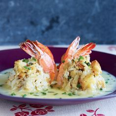 Double-Stuffed Shrimp with Beurre Blanc - Rachael Ray In Season Shrimp Dishes, Shrimp Recipes, Fish Recipes, Recipies, Shrimp Appetizers, Cajun Recipes, Bread Recipes, Brunch, Fish And Seafood