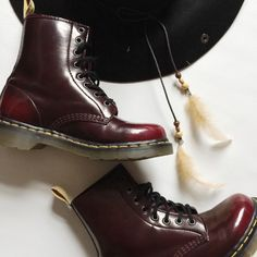 Dr. Martens 8 Eye Boots Dr. Marten's 8 Eye Vegan Maroon Boots with glossy finish.  Classic with a boho update!  Worn once, like new condition.  Original box not included. Dr. Martens Shoes Lace Up Boots