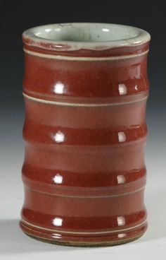 Brush Pot, China, early C., oxblood glazed brush pot in a ribbed shape. Red on the exterior and a whitish-blue on the interior. 5 in. 3 in. Blood Red Color, Wheel Throwing, Chinese Brush, Chinese Calligraphy, Chinese Ceramics, Pen Case, Oxblood, Chinese Painting, Pen Holders
