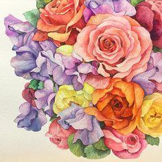 🌹🌺 . . #꽃#꽃스타그램#꽃그림#그림#그리기#수채화#장미#스위트피#식물#아트북#드로잉#일러스트#셀스타그램#셀피#리그림스타그램 #leegreeem#flower#flowerstagram#instadraw#coloring#painting#watercolor#instadaily#instadraw#daily#drawing#illust#illustration#selfie#dailypic