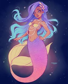Colored sketch of a mermaid for 🎉🎉🎉. I won't participate everyday because I won't have time, BUT I wanted to do at least one XD. Anyway, I hope you like 💜💜. Tools: a pencil and digital colors with Paint Tool Sai. Mermaid Artwork, Mermaid Drawings, Mermaid Paintings, Fantasy Mermaids, Mermaids And Mermen, Character Inspiration, Character Art, Character Design, Fantasy Creatures
