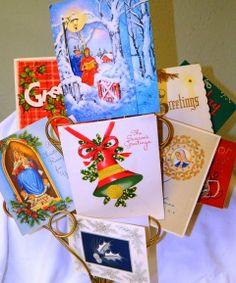 Vintage Christmas Greeting Cards, Christmas Scrapbooking, Collage, Mixed Media, X-Mas 10 cards, Nostalgic Christian Artwork 10C on Etsy, $15.00