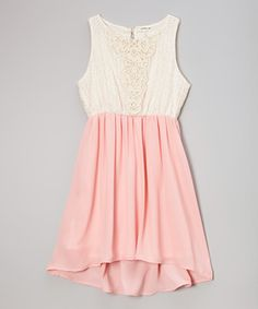 Loving this Monteau Girl Ivory  Pink Lace Dress on #zulily! #zulilyfinds