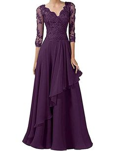 Abendkleid Victory Bridal Gorgeous Lace Long Sleeve Evening Dresses Ball Gowns V Neck Long Chiffon M Mother Of The Bride Dresses Long, Mothers Dresses, Mom Dress, Lace Dress, Ball Dresses, Ball Gowns, Chiffon Dresses, Prom Dresses, Formal Dresses