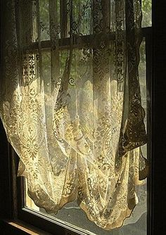 Sunshine through beautiful sheer lace curtains...lovely.