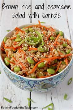 Brown rice edamame salad with carrots and a homemade soy ginger dressing - healthy and delicious! | FamilyFoodontheTable.com