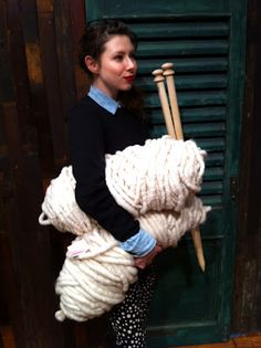 I really want to learn how to use epic-sized yarn & needles to make super-chunky knit blankets. :D