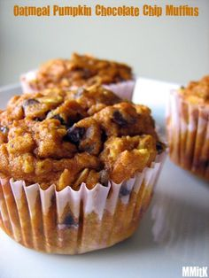 Oatmeal Pumpkin Chocolate Chip Muffins-not overly sweet and lots of fiber (I think I could sub raisins for choc chips)Recipe Link: maresfoodandfun.blogspot.com Click here for more healthy recipes!