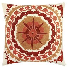 "20x20. Our artisans have mastered the art of the medallion with our hand-embroidered pillow. Truly one-of-a-kind in vibrant hues of red, this intricate design is a feat of what we like to refer to as ""sewmanship."" A hidden zipper conceals soft poly fiberfill for comfort."
