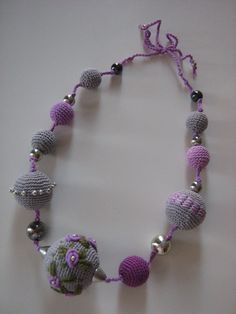 Necklace is made from crochet polyester balls 100% cotton It is very light