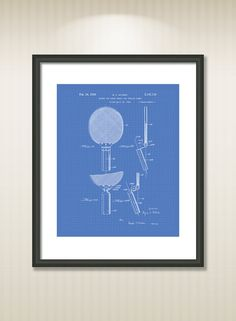 This reproduction was digitally restored and in some cases altered to remove defects or unwanted artifacts present in the original #patent document.  Buy more and save! Buy ... #patentart #art #print #gift #digital #download #instant #printable #vintage #racket #sport