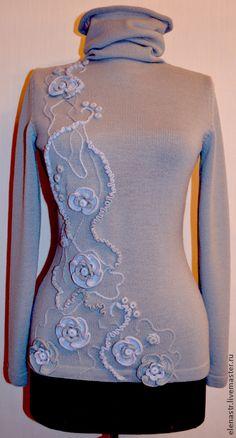 """Купить Свитер """"Серый жемчуг"""" - вязание на заказ, вязание пуловеры, вязание для женщин, нарядный пуловер"""