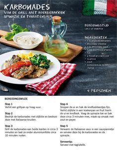 Recept voor geurige karbonades van de grill met spinazie en tomatensaus #Italie #Lidl #Italiamo