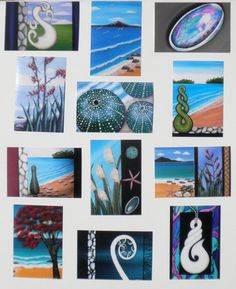 12 x Prints of my Original Paintings Kiwiana (unframed) - very unique Gift Idea - would look great in black, brown or white Frames with white matting. I have added some Photos of framed Prints as Example for Framing. Artist: Astrid Rosemergy Materials: Prints of my Original Paintings
