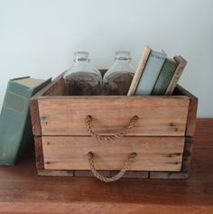 Crate Storage Wooden Box with Unusual Double Rope by KimBuilt, $28.00