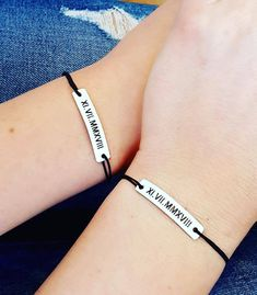 Set of 2 Personalized Couple Bracelets Roman Numerals His and Hers Engraved Custom Matching Bracelets Set, Couple Relationship Lovers Gift Matching Couple Bracelets, Matching Couples, Engraved Bracelet, Bracelet Set, Sliding Knot, Personalized Bracelets, Couple Relationship, Couple Gifts, Family Gifts