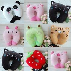 Stall selling wholesale panda plush toys u-shaped neck pillow U-shaped pillow lu. Stall selling wholesale panda plush toys u-shaped neck pillow U-shaped pillow lunch break pillow nap car neck - Alternat. Small Pillows, Baby Pillows, Kids Pillows, Sewing Crafts, Sewing Projects, Diy Crafts, Sewing Tips, Sewing For Kids, Baby Sewing