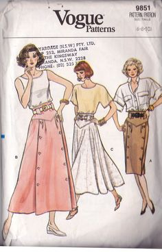 80s Vogue 9851 Button Trim Skirts Pattern Size 6 8 10 / 12 14 16