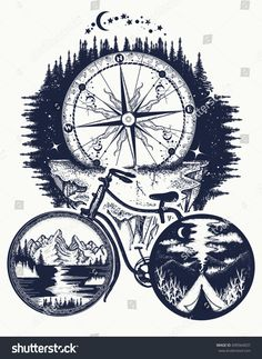 Bicycle and mountains tattoo art. Symbol of travel, tourism, adventure. Compass and mountains in bicycle wheels t-shirt design