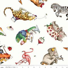 Hungry Animal Alphabet Offwhite Fabric, C10182-Offwhite, Animal Toss Fabric, Baby Nursery Crib Quilt Fabric, Riley Blake, One 1 Yard Cut Bty by Jambearies on Etsy