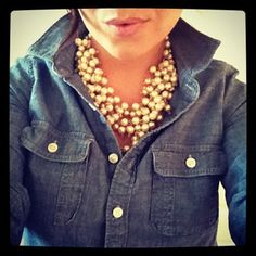Dress up chambray with pearls.