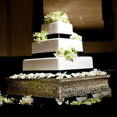 black satin ribbon & fresh green orchids make this cake simply beautiful!