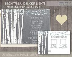 Birch Tree Wedding Invitations  Rustic Wedding by NotedOccasions