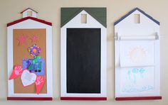 I love this Pottery Barn Kids inspired bulletin board, chalkboard, and paper roll wall decor with a fun schoolhouse design. Find out how to make your own!