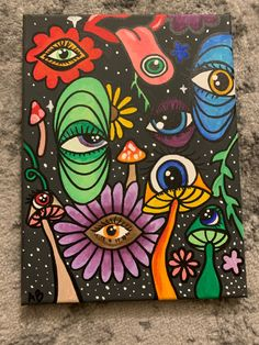 Easy Canvas Art, Simple Canvas Paintings, Small Canvas Art, Cute Paintings, Mini Canvas Art, Indie Drawings, Psychedelic Drawings, Art Drawings, Hippie Painting