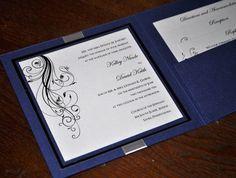 Pocketfold Wedding Invitations: Custom Handmade Pocketfold Wedding Invitations in blue and silver, Upscale Wedding Inviations, Bat Mitzvah