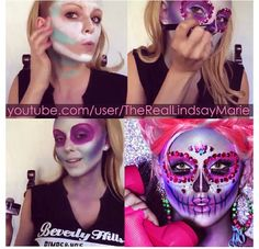sugar skull Halloween Makeup: Day of The Dead Sugar Skull Sugar Skull Halloween, Halloween Make, Halloween Face Makeup, Halloween Costumes, Halloween Town, Helloween Make Up, Sugar Skull Makeup, Sugar Skulls, Smoky Eye Makeup Tutorial