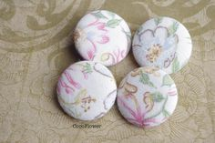 4 large vintage fabric buttons flower beige by CocoFlowerButtons